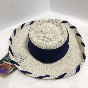 NWT VTG Sonni by Michelle McGann Straw Boater Hat